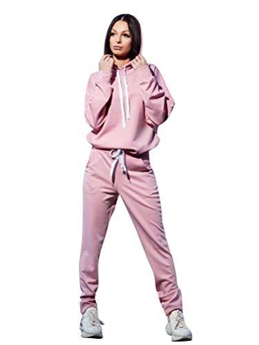 Minetom - Tuta da donna, 2 pezzi, a maniche lunghe, con cappuccio e pantaloni, sportiva, per yoga e jogging B Rose 42
