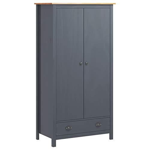 Kleiderschrank mit 1 Schublade und 1 Regal für Kleidung, Kleiderschrank, Organizer, Schlafzimmer, Haus, 89 x 50 x 170 cm, Kiefer massiv, grau und honigbraun
