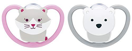 NUK Happy Nights fopspeen met lichteffect, siliconen, 2 stuks met fopspeen Standaard 18 - 36 maanden Kat en ijsbeer