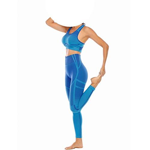 GFDFD. Nahtlose Yoga Set Frauen Fitness Tuch Workout Sportswear Gym Gamaschen und Sport BH Crop Top Shirts Sportanzug (Color : Blue, Size : L Code)
