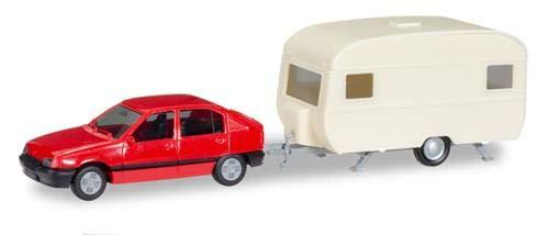 Herpa 13420 with Caravan Minikit Opel Kadett EGLS mit Wohnwagen, farbig