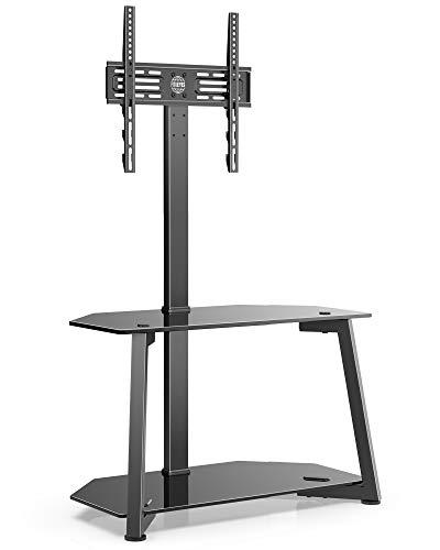 FITUEYES Support TV universel à 2 niveaux pour téléviseurs de 23 à 55 pouces, support de sol d'angle avec rangement, hauteur réglable avec étagères de rangement en verre trempé, VESA max. 400 x 400 mm