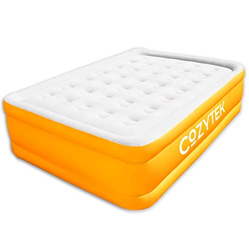 Cozytek Deluxe Inflatable Mattress King Size Blow up Air Bed with Built in Pump 203 x 152 x 46 cm, Storage Bag Included