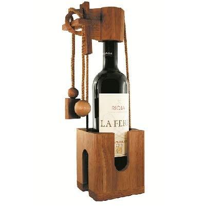 4you Design Edelholz Flaschenpuzzle - Geschenkverpackung für Flaschen - braun - Weinständer