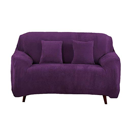 JS One Stretchable 2 Seater Sofá Cover Slipcover Settee Couch Protector (145-185cm) Púrpura