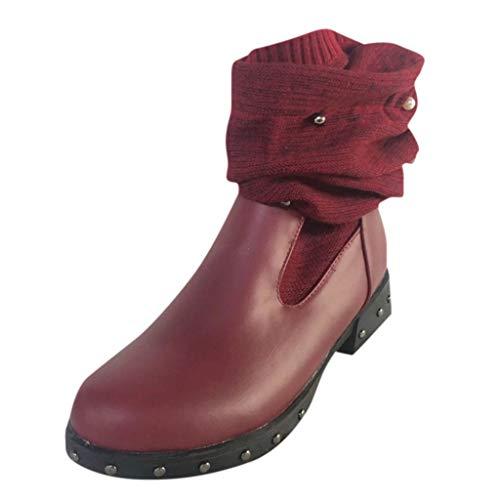 Stiefeletten UFODB Reitstiefel Damen Pullover Patchwork Winterstiefel Gefüttert Warm Leder Lang Boots Bikerstiefel Biker Bequeme Stiefel Winter Schuhe Warme Freizeitschuhe