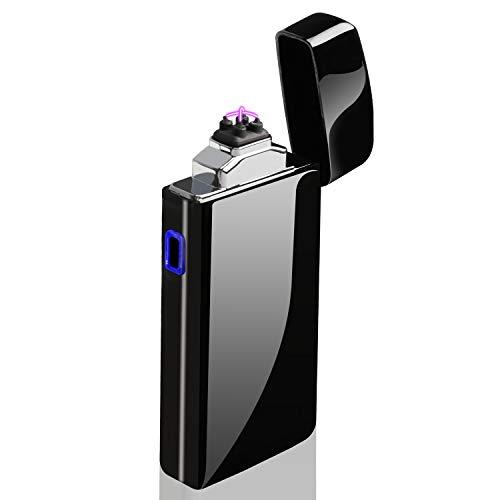 AngLink Mechero Eléctrico, Encendedor Electrico Doble Arco, USB Recargable sin Llama Resistente al Viento Plasma Encendedor con Cable USB y Caja de Regalo (Negro Brillante)