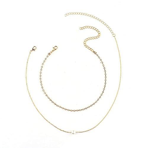 WEFH Collar de Garra de Diamantes de imitación Multicapa Creativo y Simple Europeo y Americano, Dorado