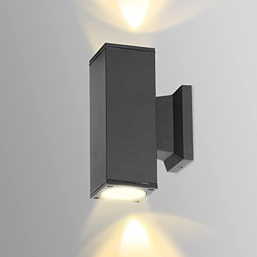 Aigostar Aplique Pared Exterior, GU10 Antracita Aluminio Up Down Lámpara, IP65 Impermeable Luz Exterior Iluminación para Balcón Garaje Terrazas Patio Jardín, color negro