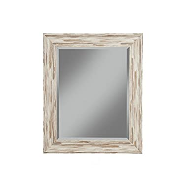 Sandberg Furniture Farmhouse Wall Mirror, Antique White Wash, 36  x 30