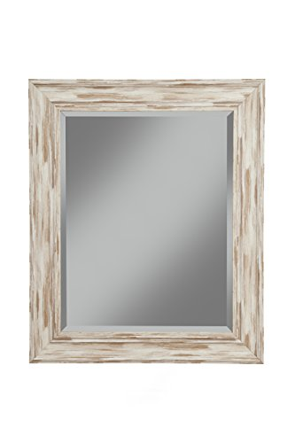 "Sandberg Furniture Farmhouse Wall Mirror, Antique White Wash, 36"" x 30"""