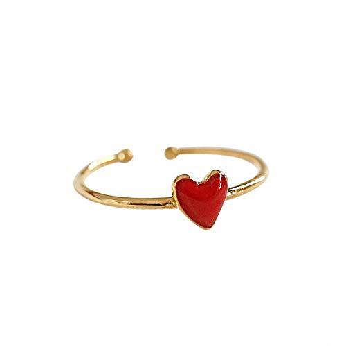 Lotus Fun S925 Anillo de plata de ley con forma de corazón de la bisutería con cristal de lágrima, anillos rojos que se abren de forma creativa natural y artesanal, joyas únicas para mujeres y niñas