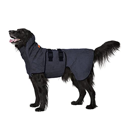 Siccaro Hundemantel WetDog Supreme Pro | Saugstarker Hundebademantel | Antibakteriell Geruchsreduzierend Bademantel Hund | Hundemantel für Kleine Hunde | Hundemantel Grosse Hunde (XL, Blue Granite)