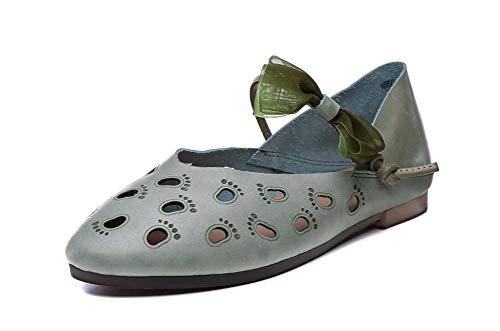 Femmes Mary Jane Summer Sandals 2020 Nouveau Hollow Bow Shoe Boucle Pantoufles Chaussures Plates Confortables,Vert,36