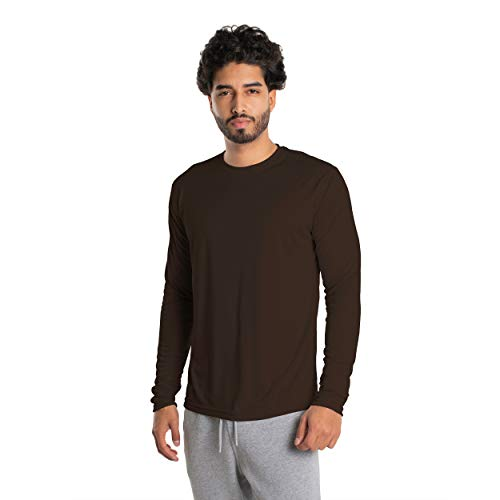 Vapor Apparel Men's UPF 50+ UV Sun Protection Long Sleeve Performance T-Shirt for Sports and Outdoor Lifestyle, Large, Bark Brown
