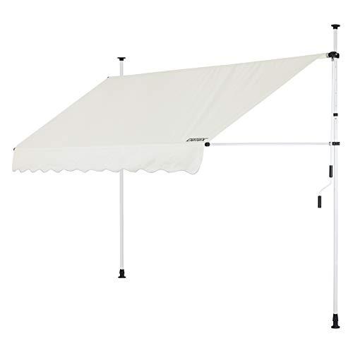 Detex Klemmmarkise 300cm x 180cm Beige mit Handkurbel Balkonmarkise UV-beständig höhenverstellbar wasserabweisend