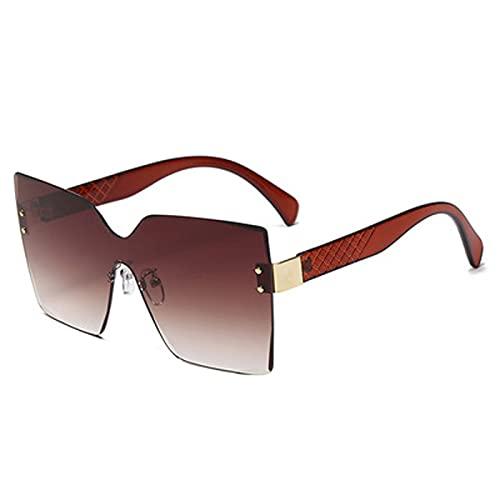 Nuevo Marco Grande Europeo y Estadounidense Fashion Fashion Gafas Sunglasses de Las señoras Ladrón Enamorado del océano Tendencia de la Tendencia Sunglass,Marrón