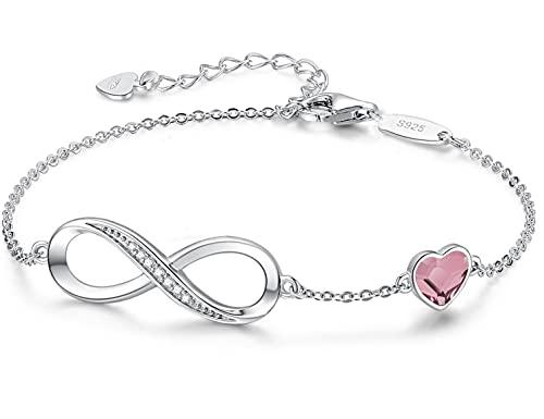 Beforya Paris – Pulsera rosa antigua para mujer con corazón – Plata 925 – Hermosa brillante pulsera con corazón de cristal – Pulsera para mujer elegante caja de regalo