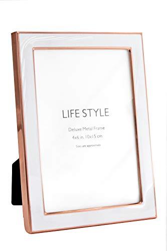 Afuly 10x15 Bilderrahmen Rosegold und Weiß Metall Modern Eleganten Portraitrahmen Geschenke Wand oder Tabelle