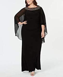 XSCAPE Womens Black Embellished Gown Chiffon Cape Jewel Neck Maxi Evening Dress Plus US Size: 14W