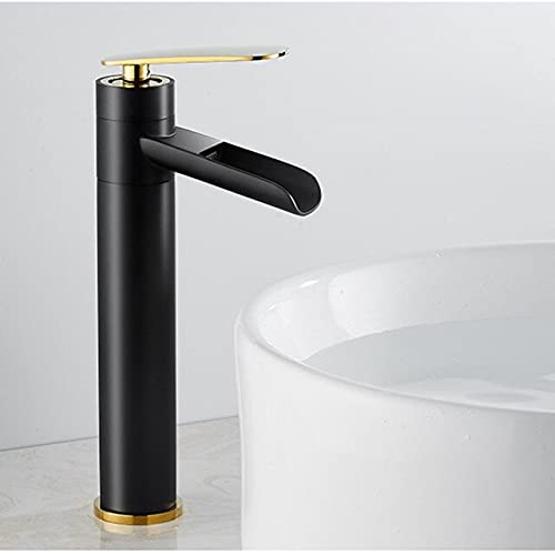 G0000D-grifo negro oro baño lavabo grifo cascada caño fregadero grifo agua sola manija caliente agua fría calidad superior y envío libre {negro oro-alto}
