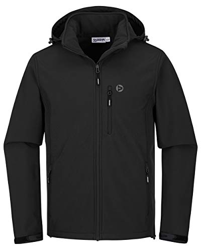 33,000ft Softshelljacke für Herren Wasserdicht Winterjacke Winddicht Warme Fleece Gefüttert Windbreaker Funktionsjacke Outdoorjacke für Wandern Fahrrad Camping Schwarz 2XL