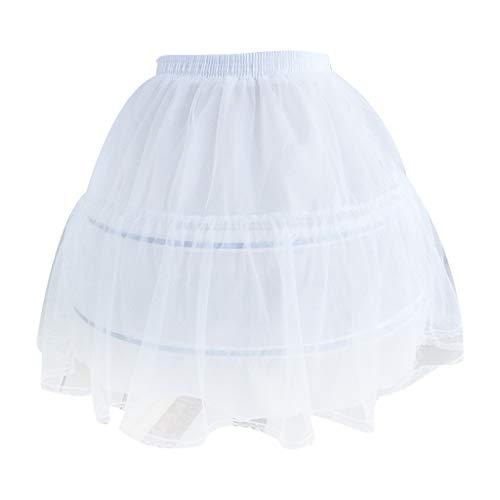 Haptian Mujeres Nupcial de una Sola Capa de Gasa Lolita Corto Enagua Falda del tutú 2 Anillo de Acero aro Floral Encaje Ajuste Princesa Bustle Boda Underskirt Blanco(Blanco)