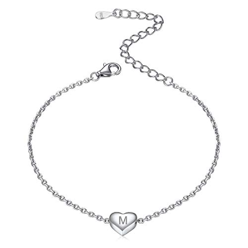 ChicSilver Sommer Armbänder mit Buchstabe M Anhänger Herz Armband Namenskette mit Geschenkebox