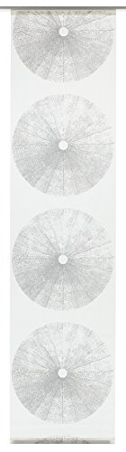 Gardinia Flächenvorhang Stoff waschbar 118 Tree weiß/grau 60 x 245 cm