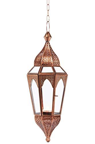 Orientalisches Windlicht Laterne Glas Lalita Klar 41 cm groß | Orientalische Glas Teelichthalter Hängewindlicht mit Henkel orientalisch | Marokkanische Windlichter hängend als Hängewindlichter