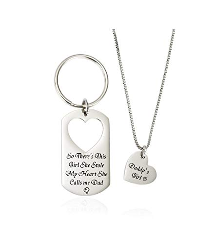 Gifts for Dad Necklace Jewelry, Father Daughter Keychains Jewelry, Daddy's Girl Birthday Necklace Set- There's This Girl Who Stole My Heart She Calls Me Daddy