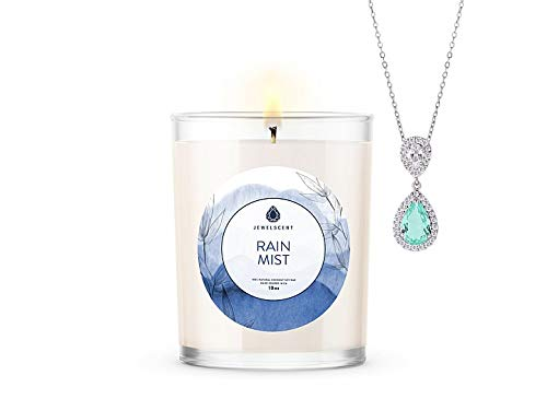 JewelScent Rain Mist Signature 10z Candle and Jewelry with Surprise Pendant Inside | Made in USA | Parrafin Free | Natural Soy Blend | ECO Friendly Organic Earring