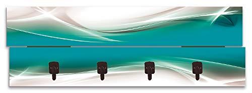 Artland Wandgarderobe Holz Design mit 4 Haken Quer Garderobe mit Motiv 90x30 cm Welle Abstrakt Kunst Kreativ Modern Türkis Petrol T9FA