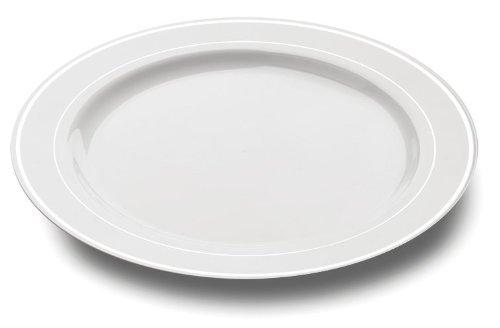 Mozaik - 20 piatti di plastica, 26 cm, colore: Bianco/Argento