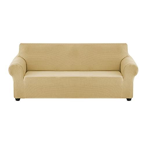 ZQDDBA Fundas de sofá para 4 plazas elástico Antideslizante Funda de sofá para Perros elástico Jacquard Protector de Muebles Fundas de sofá (Beige),Caqui,170x225cm