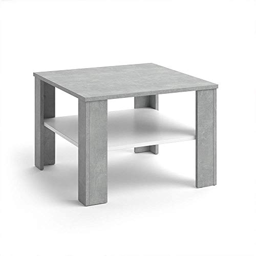 VICCO salontafel HOMER 60x60 - woonkamer salontafel koffietafel 3 kleurvarianten +++ bijzettafel - met opbergvak - top design +++ (beton wit)