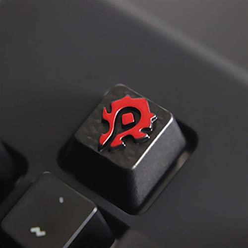 F-Mingnian-rsg Keycaps 1pc keycaps Botones de aleación de Zinc en Relieve Personalizados para Juegos Teclado mecánico Bricolaje único de Alta Gama para A (Colores: Wow The Horde)