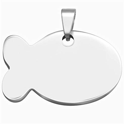 UINKE Titanium Steel Fish Shaped Pet ID Tags Personalized Dog Tags & Cat Tags Pet Gift,Silver