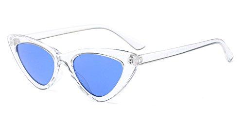 XFentech Femmes Triangle Vintage Lunettes à verres Dames Rétro Mode lunettes de soleil, Blanc/Bleu