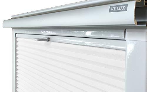 Home-Vision® Dachfenster Premium Plissee Faltrollo ohne Bohren Velux-kompatibel (Weiß für UK38 - Weiß) Blickdicht Sonnenschutz, Alle Montage-Teile inklusive