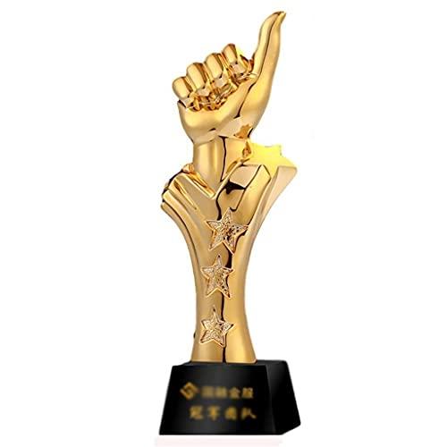 Trofeos De Cristal Creativo Resina Grabado Personalizado Reunión Anual De La Empresa Juego De Baloncesto De Empleados Premiación De Pulgares Arriba (Color : Gold, Size : 8 * 28cm)