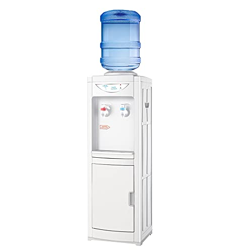 Top Loading Water Cooler Dispenser, 5 Gallon Bottles Hot & Cold Water Cooler Dispenser, Child Safety Lock Water Cooler for Indoor Home Office Use with Storage Cabinet, White