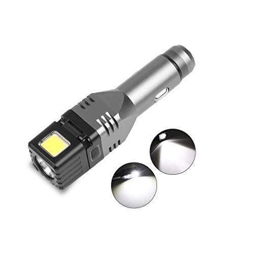 Linterna de Coche, Linterna Recargable automotriz, Mini Linterna Cargador de Coche LED Conector de Encendedor de Cigarrillos de 12V Cargador de Coche Mini Linterna