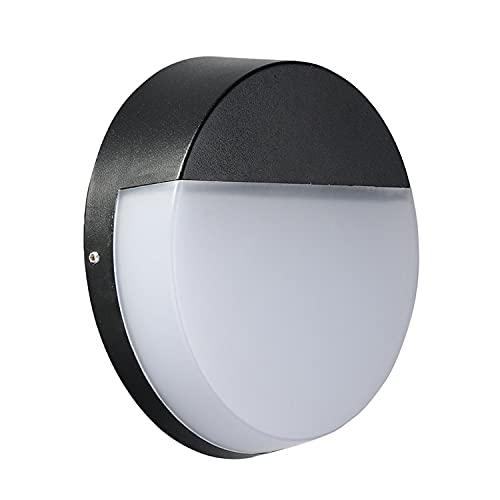Yoaodpei Lámpara de Pared Redonda Exterior Simple IP65 LED Soporte Impermeable para Exteriores Lámpara de Aluminio Cuerpo Pantalla de acrílico Balcón Patio Entrada Aplique de Pared 12W