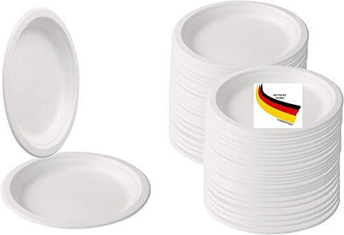 BIOQUQ Einwegteller | Bio Einweggeschirr 50Stück Ø 18cm rund Zuckerrohr Teller weiß | Partyteller Speiseteller Einwegteller Einmalgeschirr