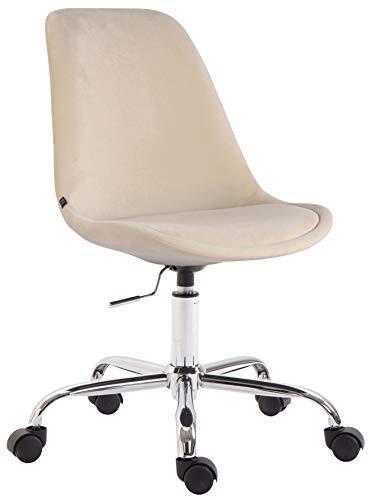 CLP Bürostuhl Toulouse Samt | Schreibtischstuhl Mit Leichtlaufrollen | Drehstuhl Mit Metallgestell In Chrom-Optik, Farbe:Creme