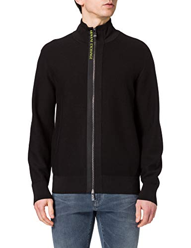 ARMANI EXCHANGE Black Cardigan Sweater Maglione, Nero, M Uomo