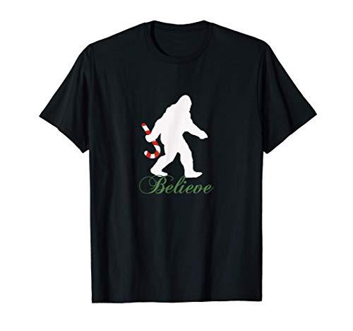 Bigfoot Sasquatch Yeti Believe Candy Cane Christmas Pajamas T-Shirt