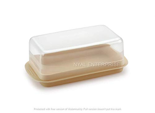 NYAL's Butter Dish with Lid, Plastic Butter Dish with Covers Plastic Butter Keeper, Dishwasher Safe (Off-White)