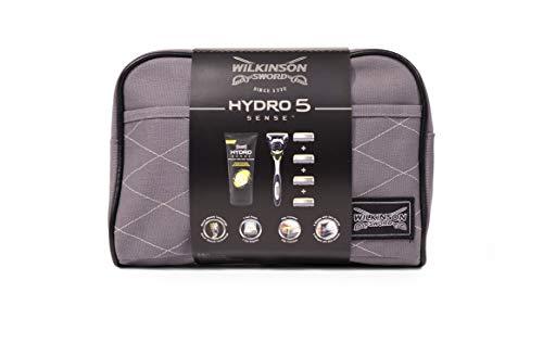 Wilkinson Sword Hydro 5 Sense Washbag Set - Maquinilla de Afeitar de 5 Hojas + 4 Recambios de Cuchillas + Crema de afeitar Hidratante y Anti-Irritación + Neceser